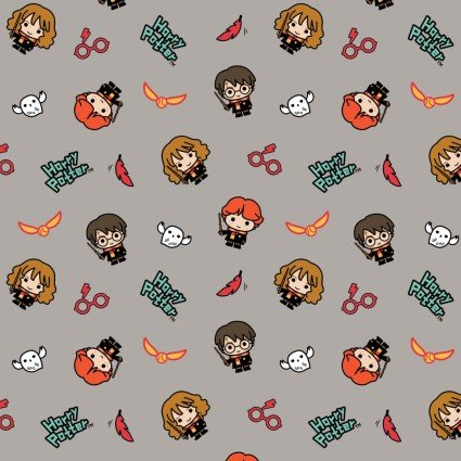 Wizarding World Kawaii Harry Potter Characters and Owls on Gray Fabric by the yard