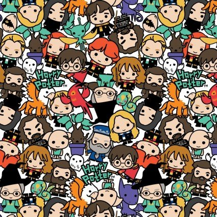 Wizarding World Kawaii Harry Potter Characters Fabric by the yard