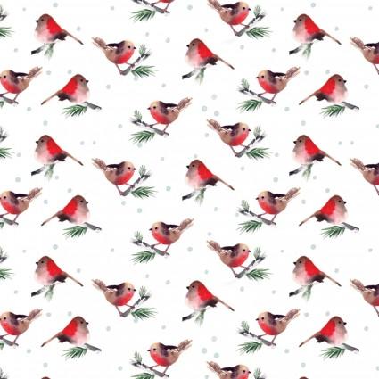 Winter Woods - Birds - cream