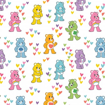 Care Bears: Believe on White Fabric by the Yard