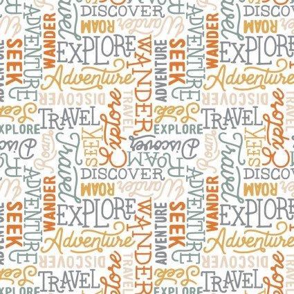 Adventurer Wanderlust Words on White Fabric by the Yard