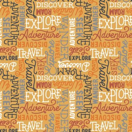 Adventurer Wanderlust Words on Mustard Fabric by the Yard