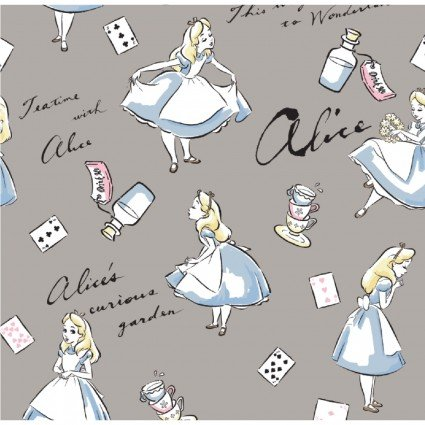 Disney Classic Collection Alice in Wonderland on Gray Fabric by the yard