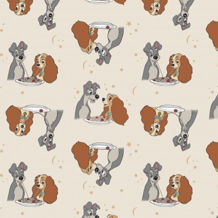 Disney Lady & the Tramp Stars In Their Eyes on Cream Fabric by the Yard