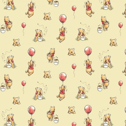 Disney Classics Collection Winnie the Pooh Chamomile Pooh Balloon Fabric by the Yard
