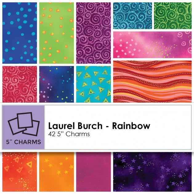 Laurel Burch Precuts - Rainbow - Charm Squares