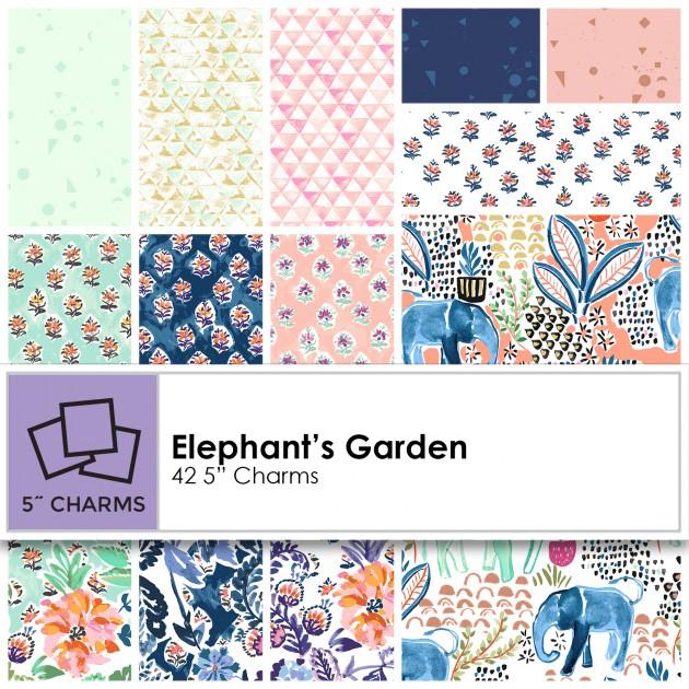 Clothworks - Elephant's Garden Charm Squares