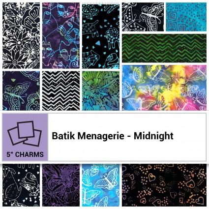 Batik Menagerie - Midnight 5 Squares