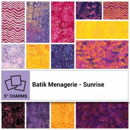 Batik Menagerie - Sunrise 5 Squares