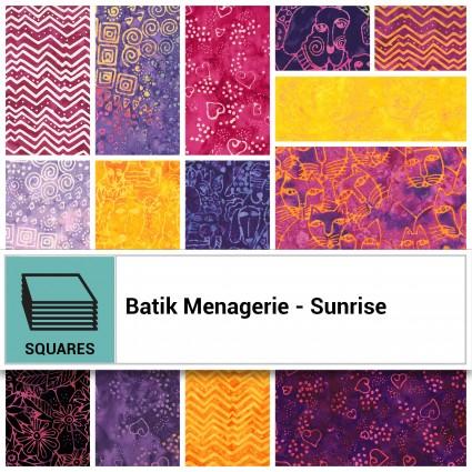 42 10 squares Batik Menagerie - Sunrise