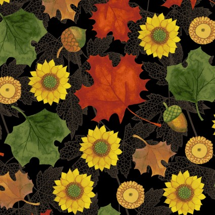AUTUMN REVERIE BLACK WITH SUNFLOWERS & LEAVES Y-2182-3