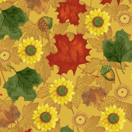 AUTUMN REVERIE GOLD WITH SUNFLOWERS & LEAVES Y-2182-68