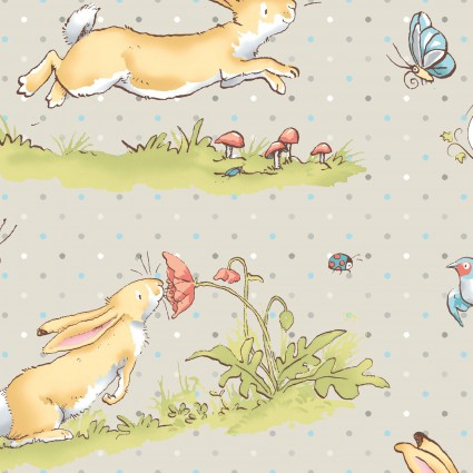 GUESS HOW MUCH I LOVE YOU FLANNEL LIGHT TAUPE WITH BUNNIES Y2321-61