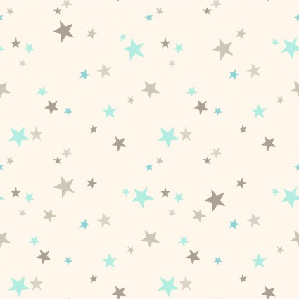 GUESS HOW MUCH I LOVE YOU FLANNEL CREAM W/ AQUA & TAUPE STARS Y2323-2
