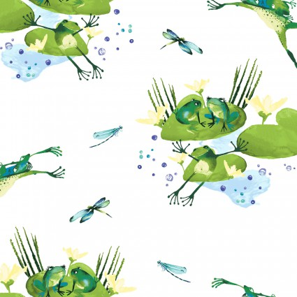 CLOTH- Lakeside Fun White Frogs and Lily Pads