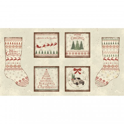 Clothworks | Home for Christmas - Christmas Stocking Panel by Dan DiPaolo Y2430-11