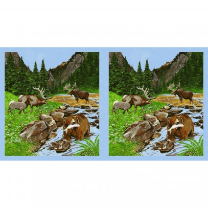 Clothworks - Open Sky by Barb Tourtilotte Y2450 55 Bear Moose Panel