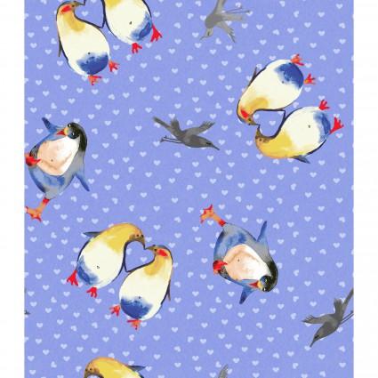 Winter Love Penguins Periwinkle