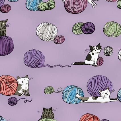 CLOTH- Fair Isle Friends Kittens & Yarn Balls on Light Purple