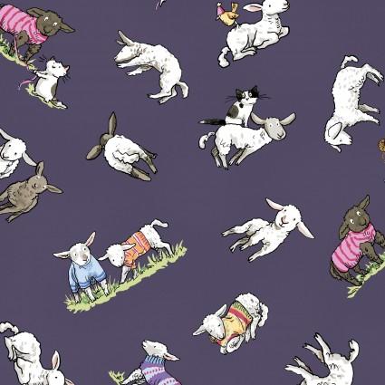 CLOTH- Fair Isle Friends Sheep in Sweaters on Dark Purple