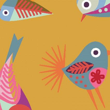 CLOTH- Stitch Cats Birds on Dark Gold