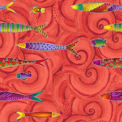 Sea Goddess Fish on Red