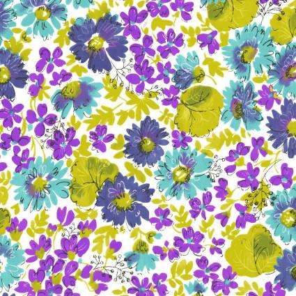 Cassandra Flowers Blue and Purple