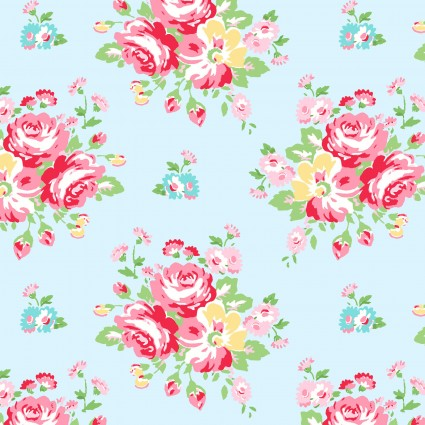 Janey Aqua with pink flowers
