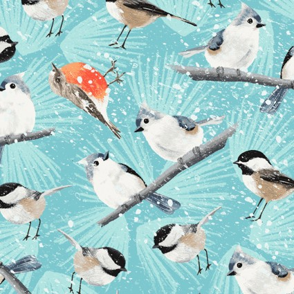 Winter Woodland Birds Teal