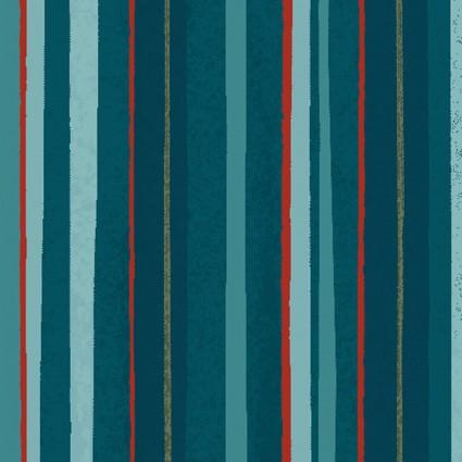 Winter Woodland Stripe Dark Teal