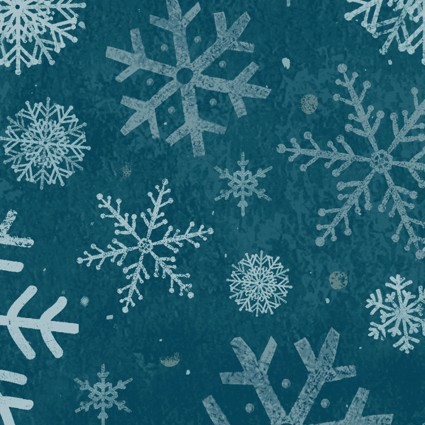 Winter Woodland Snowflakes Dark Teal