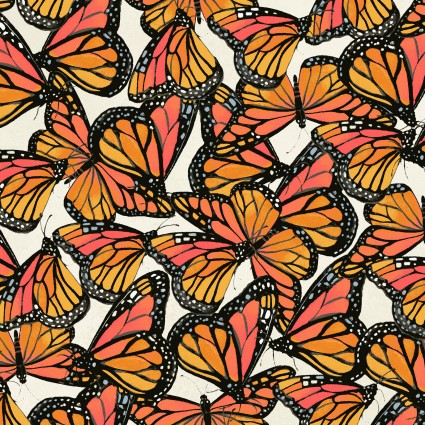 Butterflies Fat Quarter - Cream Zinnias in Bloom Collection by Clothworks