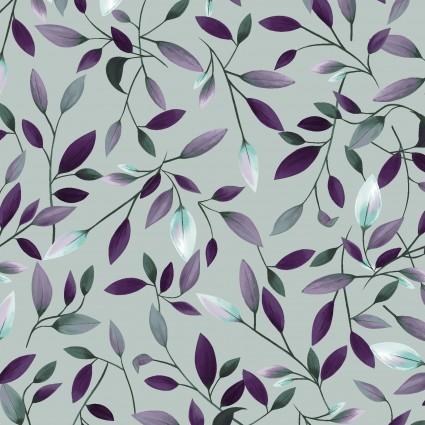 Amethyst Garden Grey/Leaves