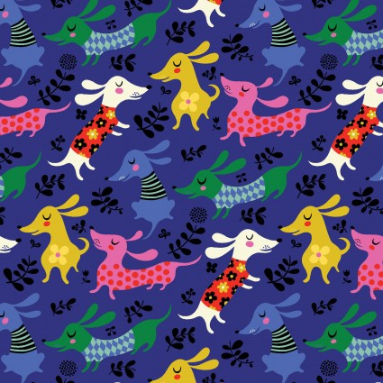 Make Today Awesome - Dachshunds in Dark Royal Blue