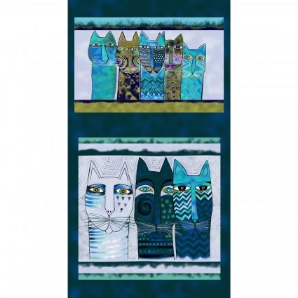 Feline Frolic-Blue Cat Panel