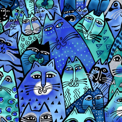Laurel Burch Feline Frolic Y2798-31M Cats Royal Blue Metallic