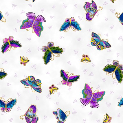 Laurel Burch Feline Frolic Y800-1M Tossed Butterflies White Metallic