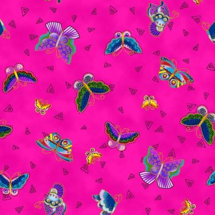 Laurel Burch Feline Frolic Y800-77M Tossed Butterflies Fuchsia Metallic
