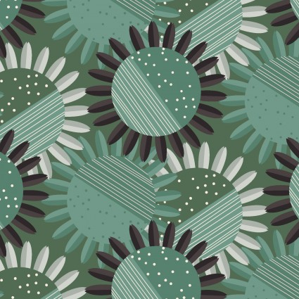 CLOTH- Rosewood Sunflowers Light Forest