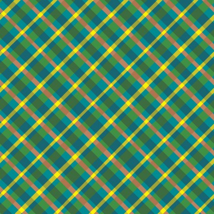 Garden Notes Diagonal Plaid Y2827-104  Teal