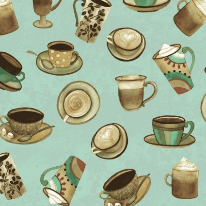 Y2831-101 Turquoise Cups Coffee Shop