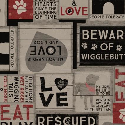 Clothworks - WIGGLEBUTTS-DogSayings/Light Gray - Y2839-5