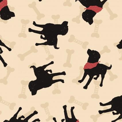 Clothworks - WIGGLEBUTTS-Dogs/Light Khaki - Y2840-11
