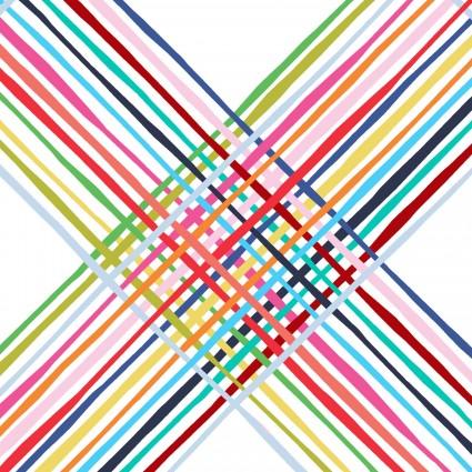 Happy! - Diagonal Plaid in White