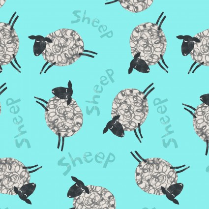 Animal Magic - sheep on blue