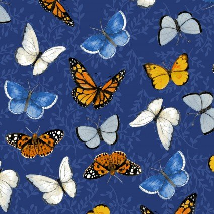 CLOTH- SUNNY FIELDS butterflies on navy