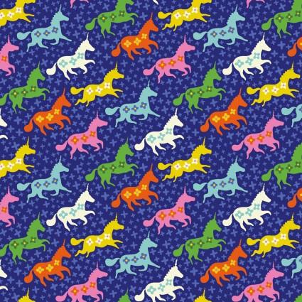 Forever Magic - Galloping Unicorns Dark Royal Blue