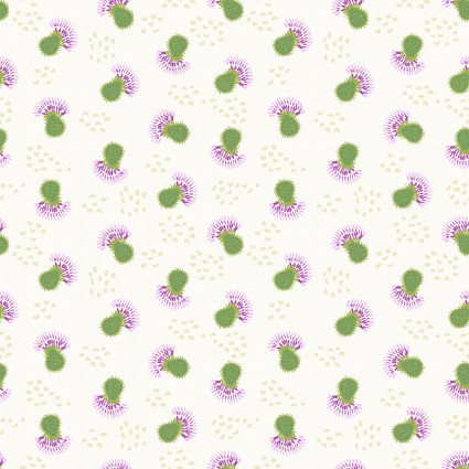 CLOTH- THISTLE PATCH small green thistles on cream