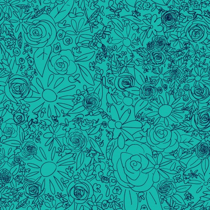 Y3076-102 Clothworks Painted Petals Doodle Floral