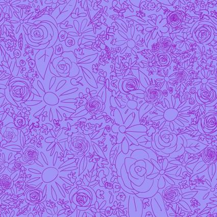 Y3076-27 Clothworks Painted Petals Doodle Floral